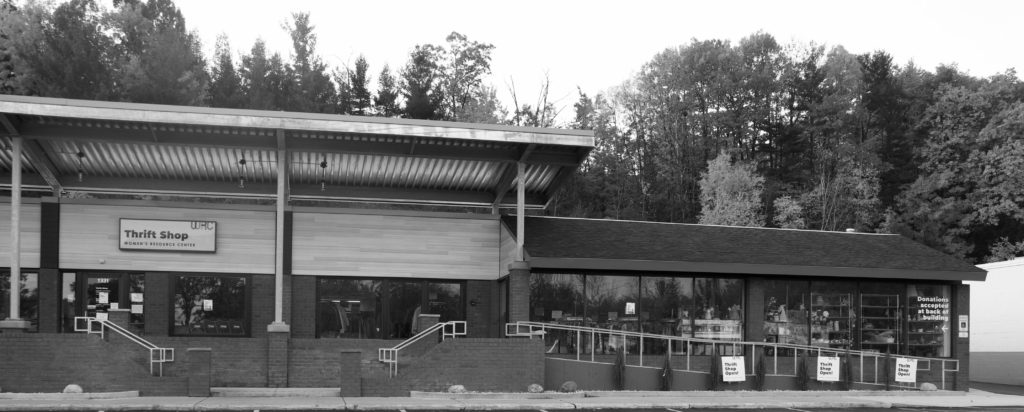 Black and white exterior photo of the new Women's Resource Center Thrift Shop.